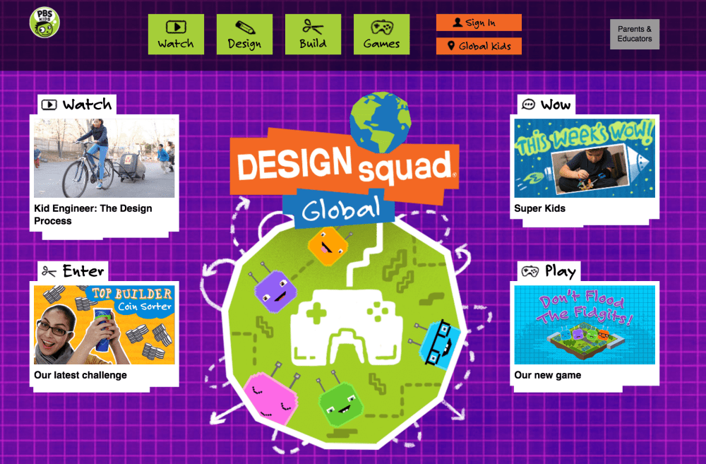 Design Squad Global home page. WGBH 2016