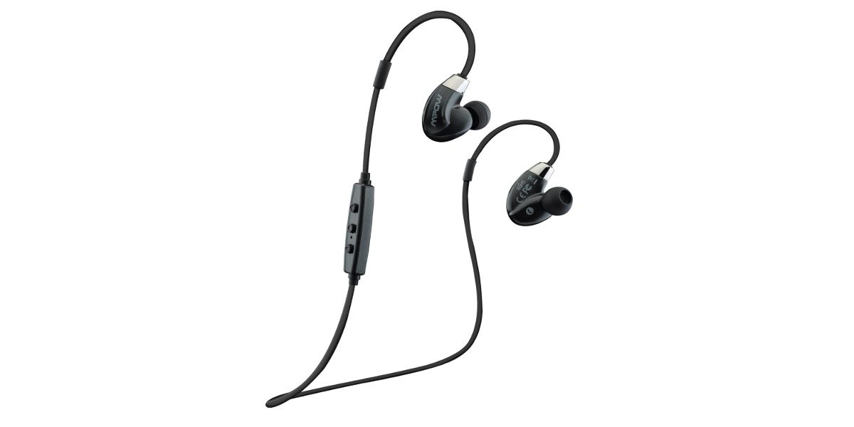 A pair of MPow Seals Airflow Sports in-ear headphones on a white background.