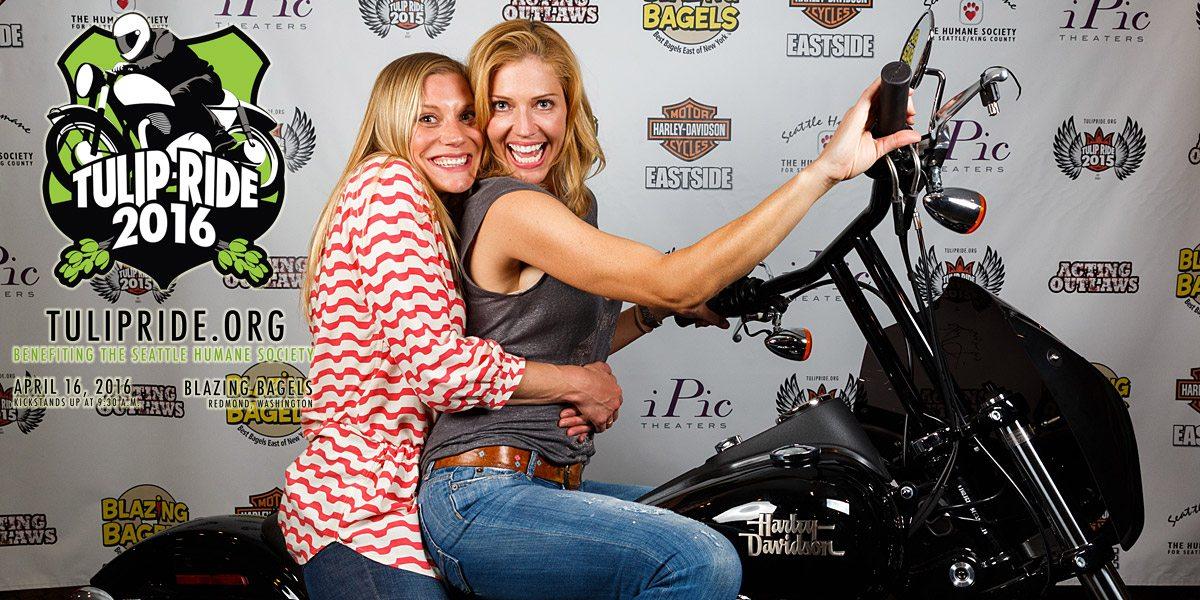 Sackhoff and Helfer on a Harley