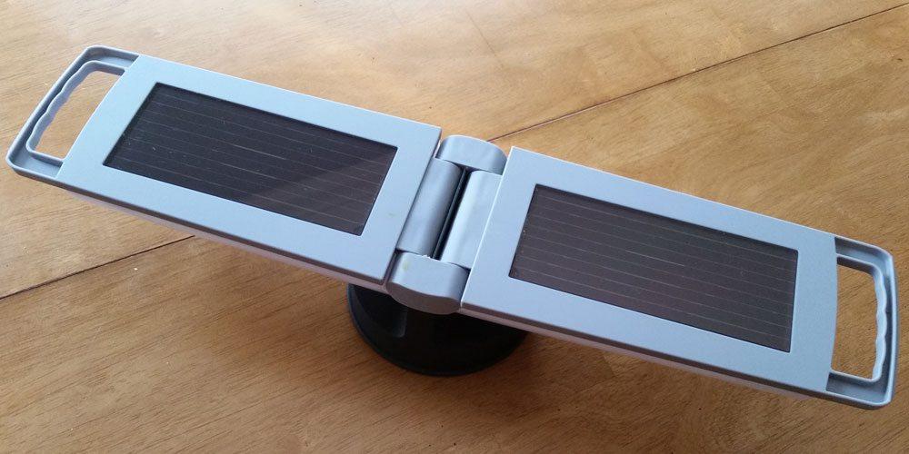 The ECO Solar Lantern open, showing its solar panels