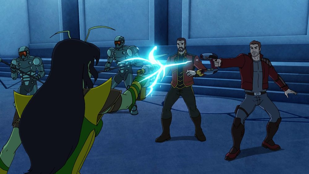 """MARVEL'S GUARDIANS OF THE GALAXY - """"Don't Stop Believin'"""" - Quill goes missing while following the Cryptocube's readings. This episode of """"Marvel's Guardians of the Galaxy"""" airs Sunday, March 13 (8:00 - 8:30 A.M. EDT) on Disney XD. (Marvel) J'SON, STAR LORD"""