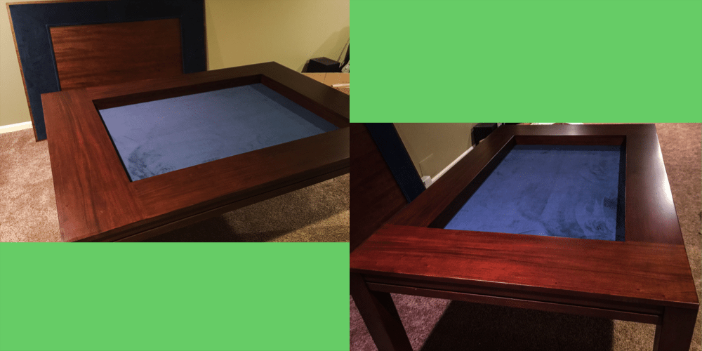 Side and front views of uncovered table