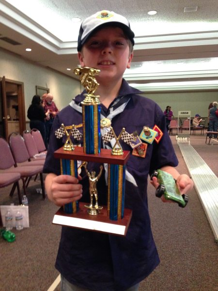 Author's son as a pinewood winner!