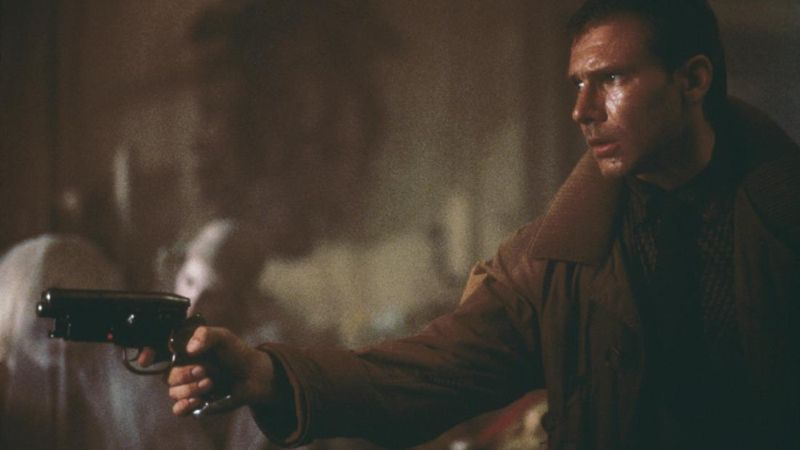 Rick Deckard with his iconic pistol.