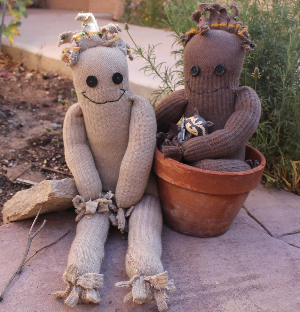 Make a little sock Groot and make a raccoon happy! All images by Lisa Kay Tate.