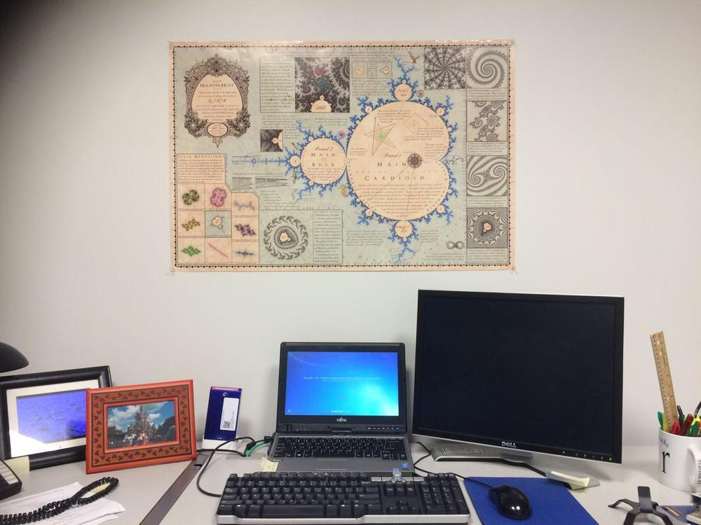 """My own 36"""" x 24"""" Mandelmap has a place of honor in my math department office. My co-workers have enjoyed reading all the details. Image credit: Patricia Vollmer"""