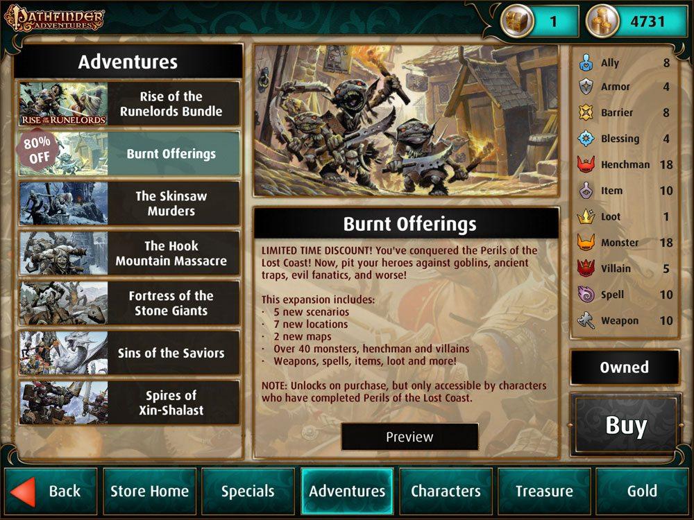 Pathfinder Adventures store: Adventures