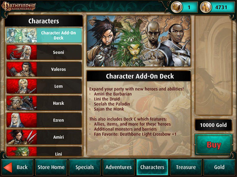 Pathfinder Adventures store: Characters