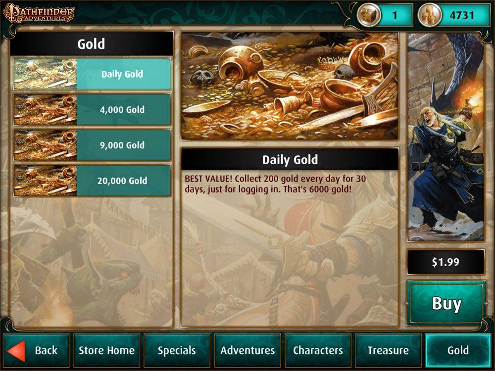 Pathfinder Adventures store: gold
