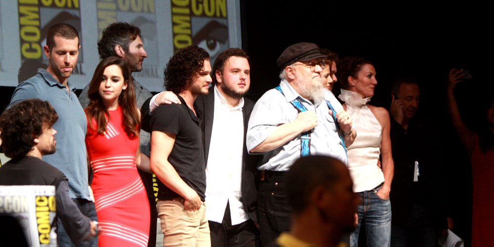 The 'Game of Thrones' cast, with author George R.R. Martin, at Comic-Con in 2013. Image via Wikimedia Commons.