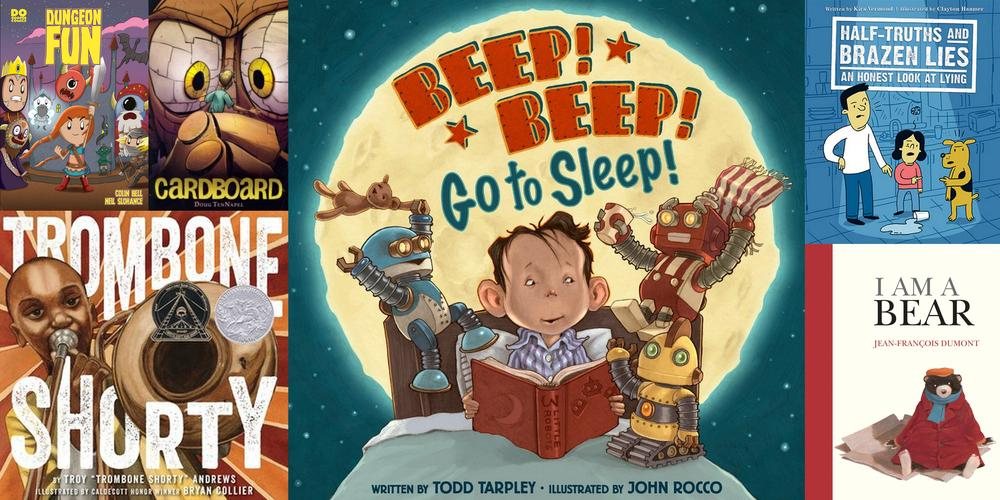 Our favorite read alouds this month. Image credit: Ariane Coffin