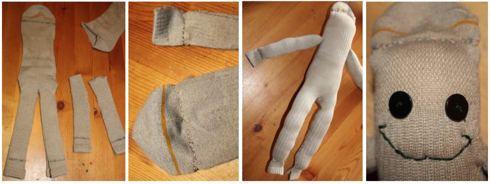 Cut the shapes, sew the ends, stuff the sock and give him a face. Easy!