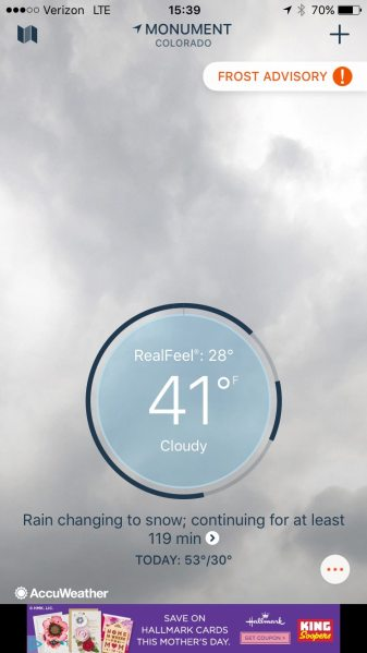 The opening screen on the free AccuWeather app will display your location's current conditions. Screen capture: Patricia Vollmer