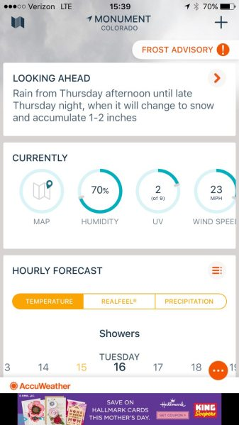 Swiping up (starting your finger at the center of the screen) will take you to a 96-hour forecast, along with some other near-term forecast information. Screen capture: Patricia Vollmer