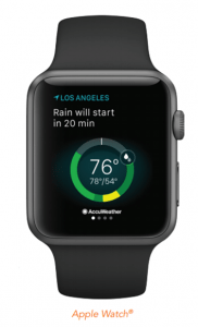 The AccuWeather app will integrate with the Apple Watch for personalized alerts. Image: AccuWeather.