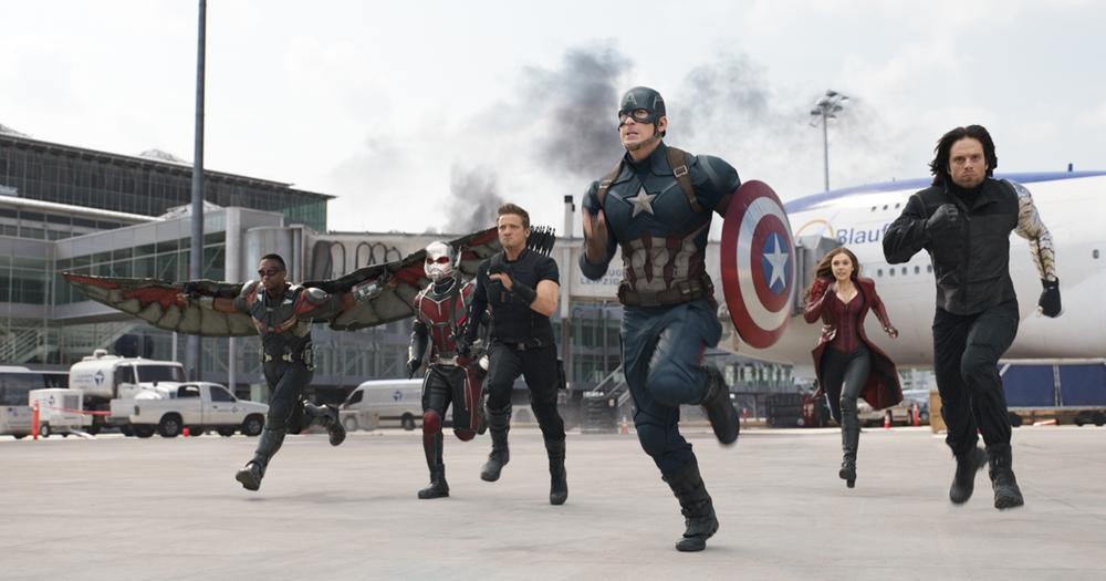 Team Captain America: Falcon (Anthony Mackie), Ant-Man (Paul Rudd), Hawkeye (Jeremy Renner), Captain America (Chris Evans), Scarlet Witch (Elizabeth Olsen), and Bucky Barnes (Sebastian Stan) Photo Credit: Film Frame © Marvel 2016