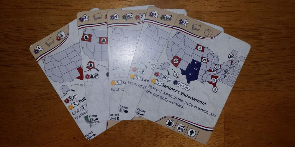 Campaign Trail prototype cards. Image by Rob Huddleston.
