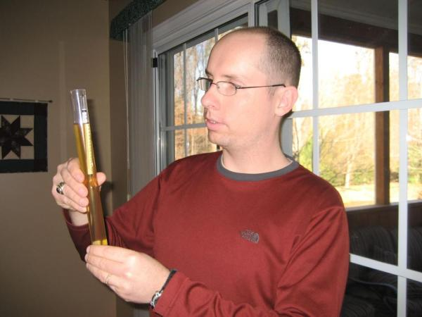 My husband uses a hygrometer to assess the alcohol content of his homebrewed beer. Image credit: Patricia Vollmer.