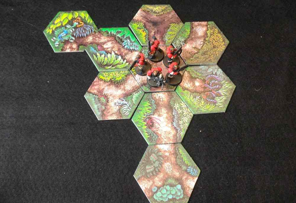 The Marines start on the same Hex, six directions to go. What could possibly go wrong?
