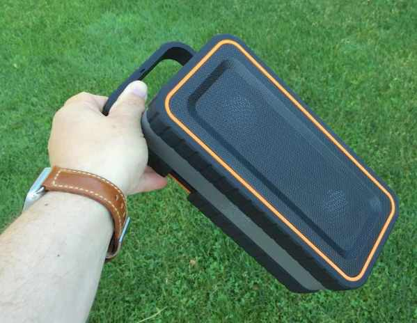 Turcom rugged speaker has handle