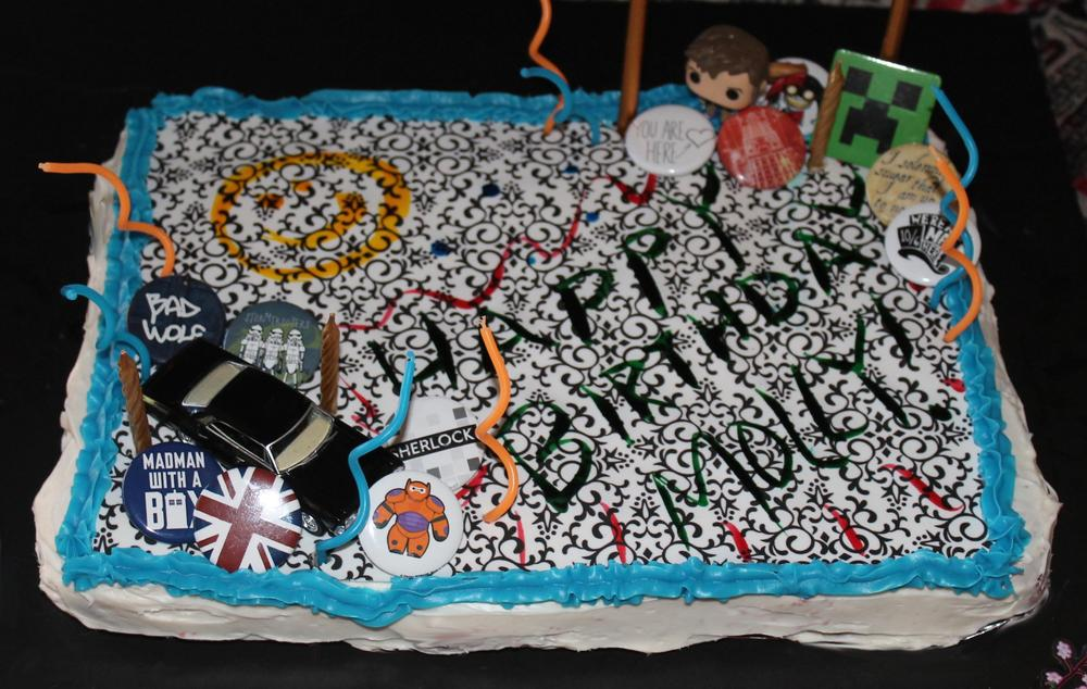 """I learned last year with this """"multi-fandom cake"""" the less you do shaping the cake the better. I'm leaving the special shapes to the professionals."""