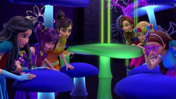 "DESCENDANTS: WICKED WORLD - Season one of ""Descendants: Wicked World"" culminates with a half-hour ""Neon Lights Ball"" compilation special that follow the adventures of Mal, Evie, Carlos, Jay and Ben at Auradon Prep as they uncover who is behind suspicious disappearances at their school dance. (Disney Channel) EVIE, MAL, JORDAN, AUDREY, ALLY, JANE"