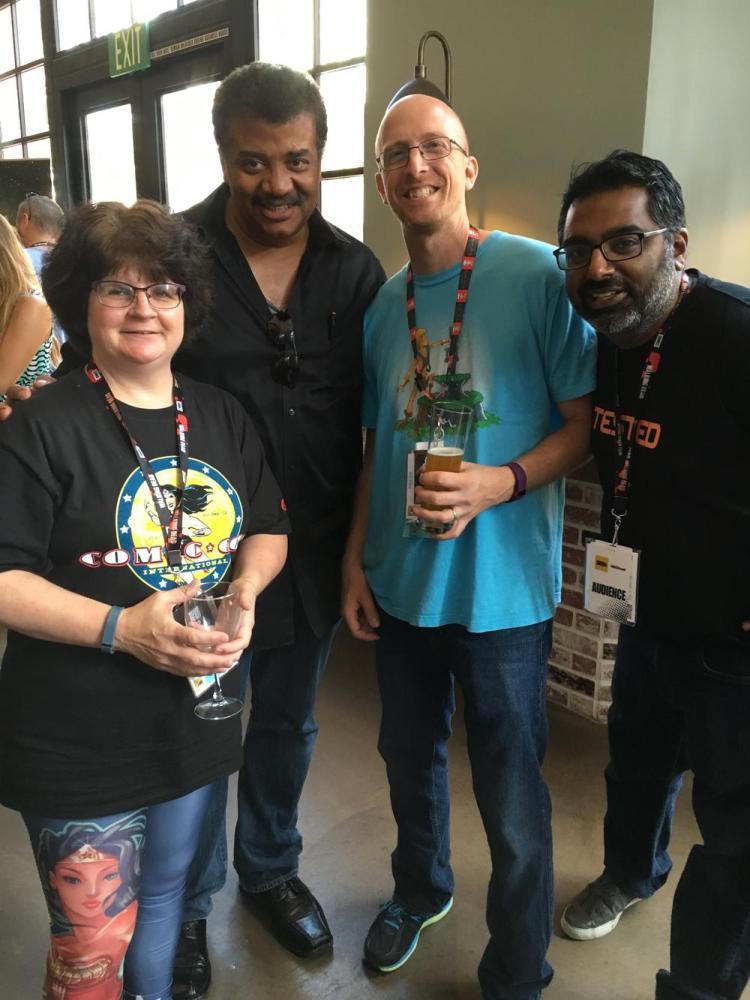 From left to right: GeekMom Corrina Lawson, Neil deGrasse Tyson, GeekDad Jamie Greene, GeekDad Kishore Hari, photo by Corrina Lawson