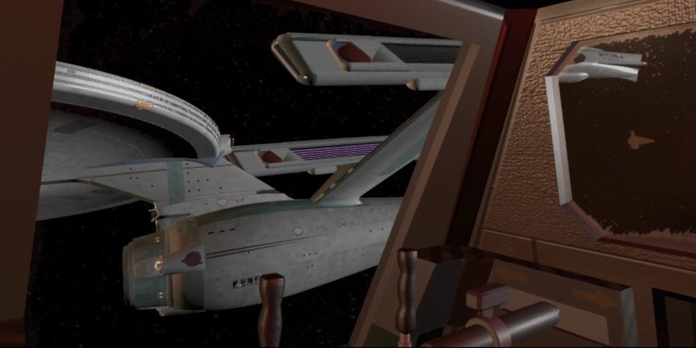 "A view from inside a shuttlecraft in ""The Constitution Class Experience"" looking at NCC-1701-A."