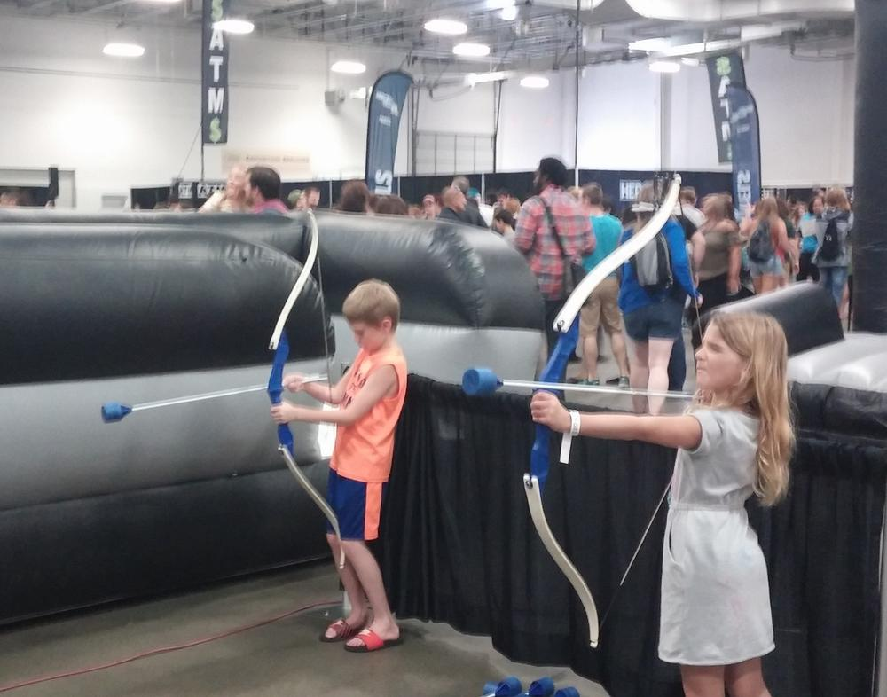 S.A.F.E. indoor archery range at Heroes & Villains Fan Fest.