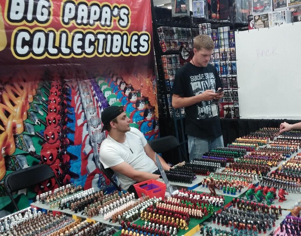 Mini LEGO block action figures like The Hulk, Batman, and Princess Leia were available at this vendor. Photo: Andrew Terranova