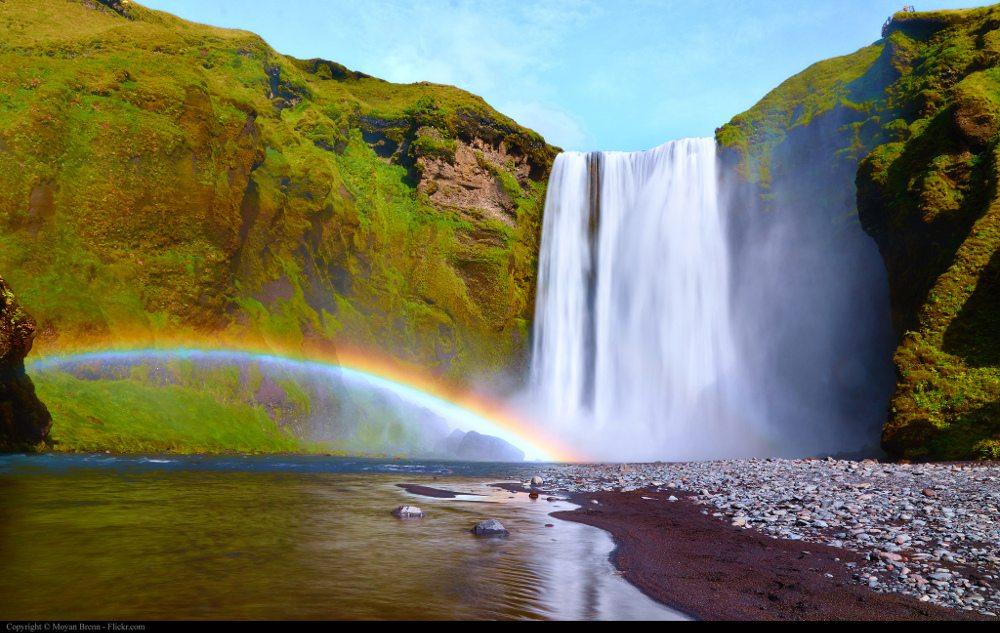 Iceland waterfall rainbow by Flickr user Moyan Brenn (CC BY 2.0)