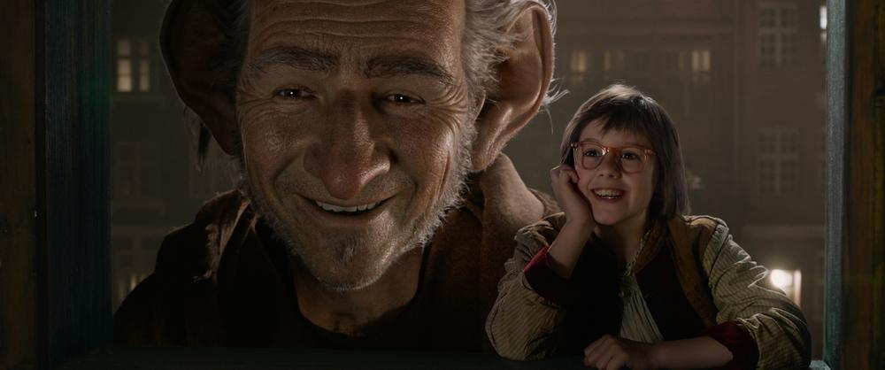 The Big Friendly Giant (Mark Rylance) and Sophie (Ruby Barnhill) become friends in 'The BFG'. image © Disney