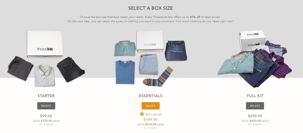 There are three price points with ThreadLab. Choose the one that best fits your budget and clothing needs.