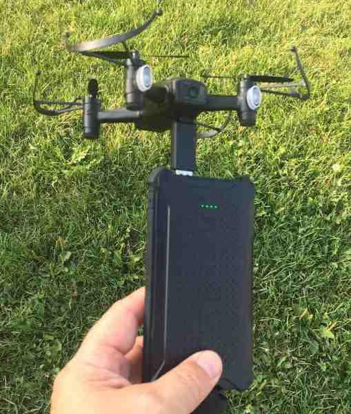 Black Talon drone recharges via USB