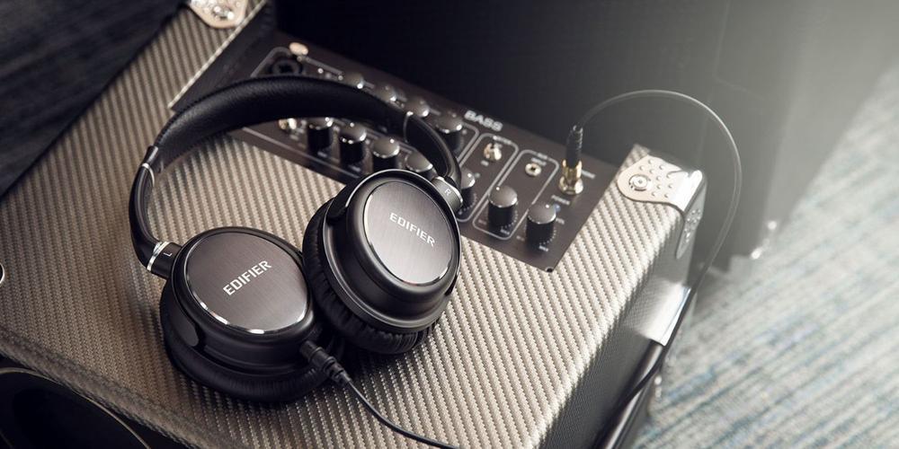 Edifier headphones on an amplifier