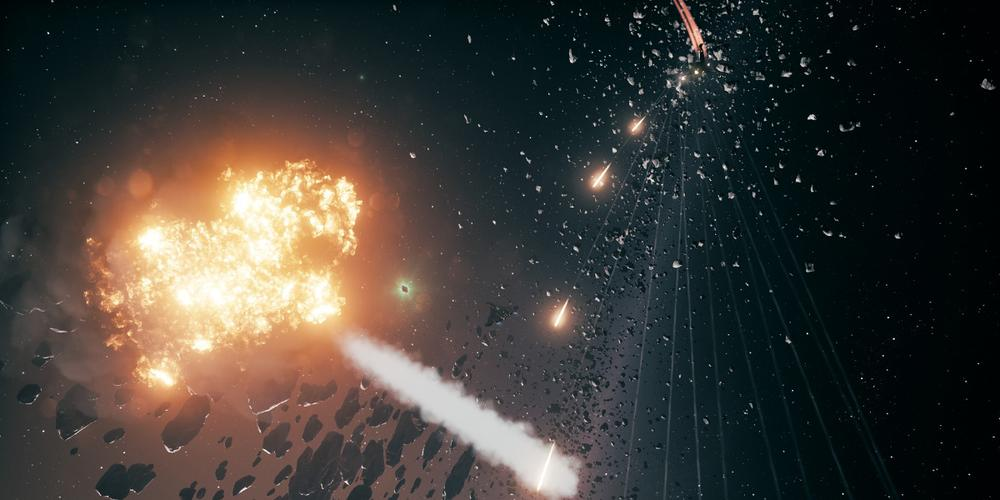 Enemy ships fire orange projectiles at the player's ship in Everspace. An explosion completes nearby as another enemy ship burns.