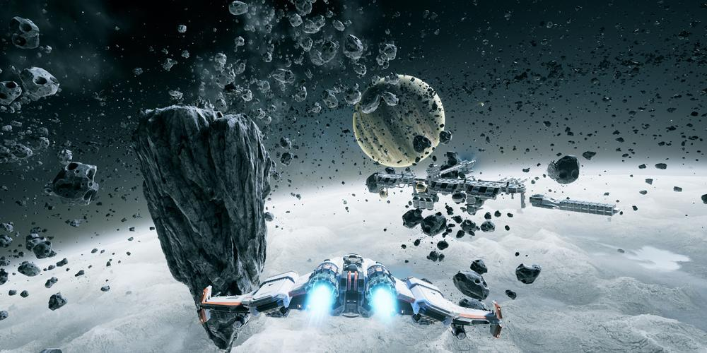 A shot from behind the player's ship, with an asteroid field in the near picture, surrounding a nearby space mining facility, with a planet in the distance.