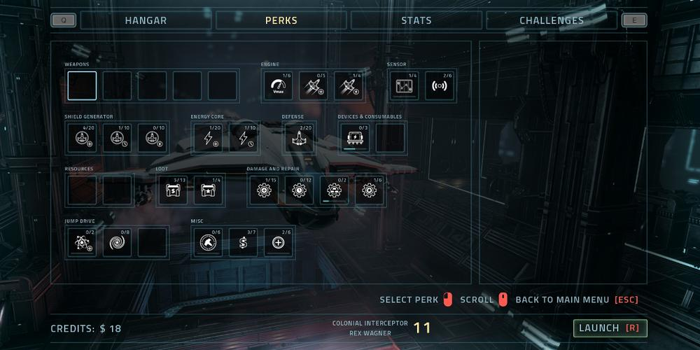 The perk selection screen in Everspace. Essentially many boxes with numbers such as 6/20, indicating how many times that perk has been selected.