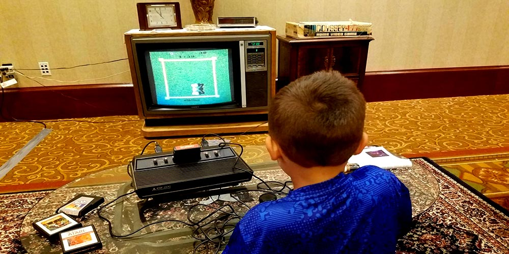 My Son Nicky in the Retro 80s Living Room
