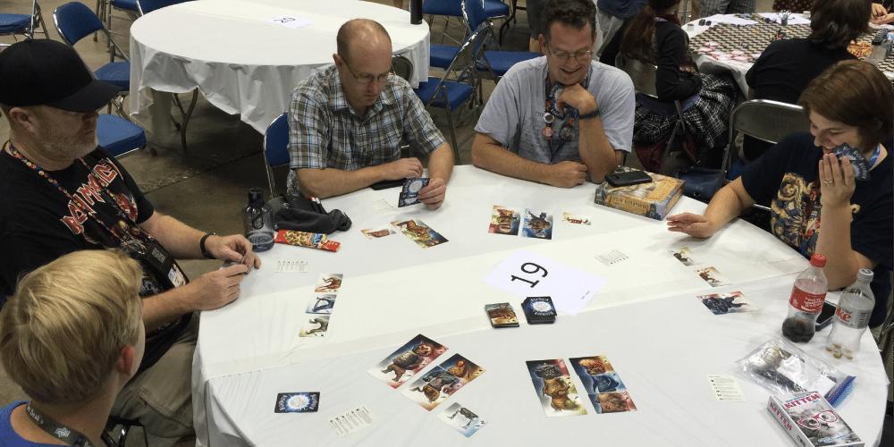 GeekDad crew playing Nightmarium, an upcoming Kickstarter. Photo by Gerry Tolbert