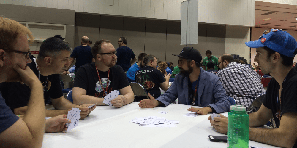 Play testing Trashmasters, a forthcoming game from Justin Robert Young and John Teasdale