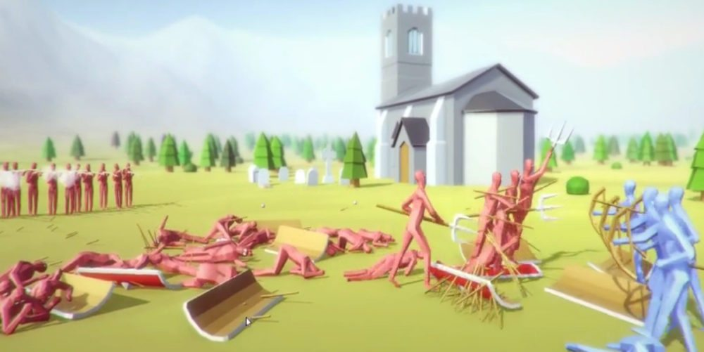 A pile of red soldiers at a distance from their enemy, with their own musketmen firing behind them in Totally Accurate Battle SImulator