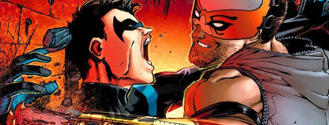Nightwing and his new buddy, Raptor, bond. Image via DC Comics