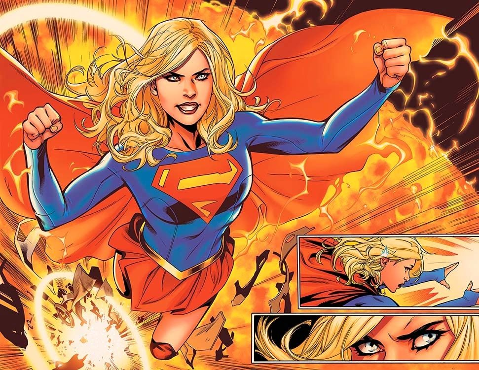 Supergirl explodes out of the sun! Panel from Supergirl Rebirth #1