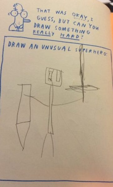 c. S.W. Sondheimer art by I, age 6 1/2. I am told his name is EnderSteve. I don't know what that means.