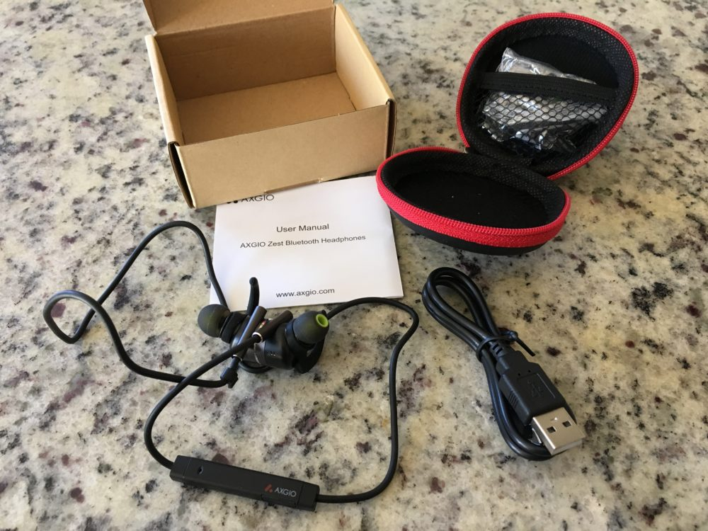 What comes in the box: The headphones, a small soft-sided carrying case, MicroUSB charging cable, silicone earpiece fittings, and two clips. Image credit: Patricia Vollmer