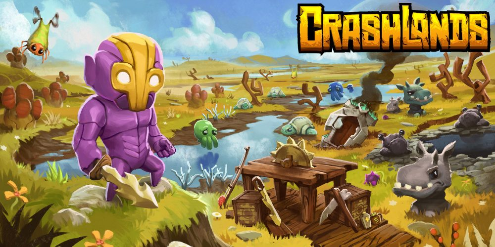 Title screen for Crashlands with a purple armored humanoid with a jagged sword in front of a grassy landscape.