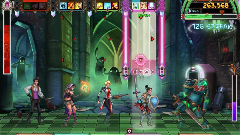 Shot from The Metronomicon showing various gameplay elements described in the caption.