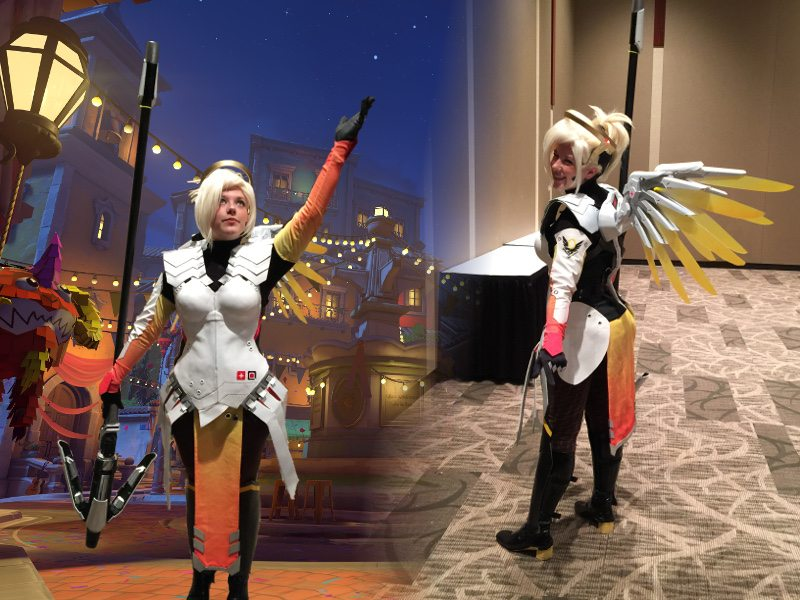 Mercy from Overwatch, Cosply at PAX West 2016. There are two photos of the same person, one has been superimposed on a screen shot from a level of Overwatch.