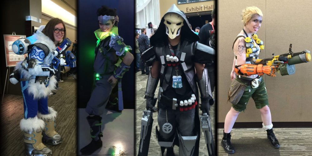 Overwatch cosplay from PAX West 2016 showing four characters from the article: Mei, Genji, Reaper, and Junkrat.
